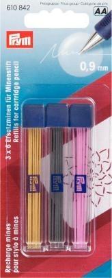 Prym Ersatzminen für Minenstift, extra fein Ø 0,9 mm farbig sortiert