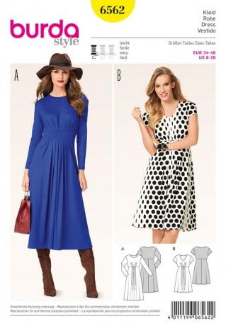 Kleid - erhöhte Taille - Fältchen, Gr. 34 - 46, Schnittmuster Burda 6562