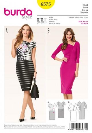 Kleid - asymmetrisch - mit Raffung, Gr. 34 - 44, Schnittmuster Burda 6575
