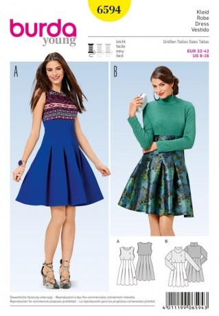 Kleid - hohe Taille - Faltenrock, Gr. 32 - 44, Schnittmuster Burda 6594