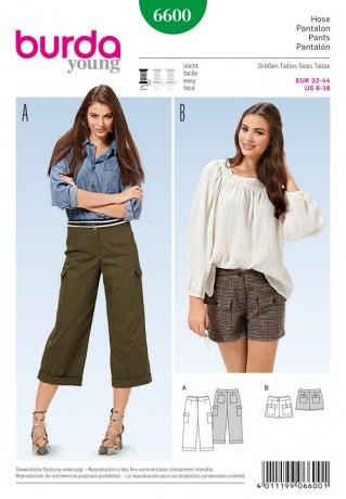 3/4 Hose - Shorts - Formbund, Gr. 32 - 44, Schnittmuster Burda 6600