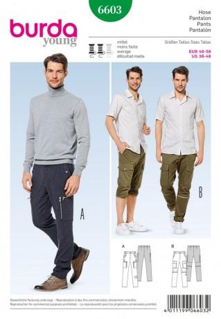 Hose - Straight Leg - Workerstil, Gr. 46 - 58, Schnittmuster Burda 6603
