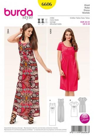 Kleid - runder Ausschnitt - Empirelinie, Gr. 16 - 22, Schnittmuster Burda 6606