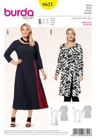 Kleid - mit einseitigem Godet oder Schlitz, Gr. 44 - 54, Schnittmuster Burda 6621