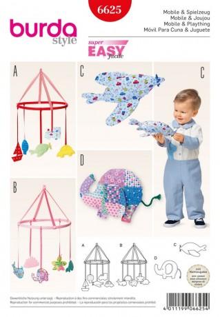 Mobile fürs Babyzimmer - Stoffspielzeug, Schnittmuster Burda 6625