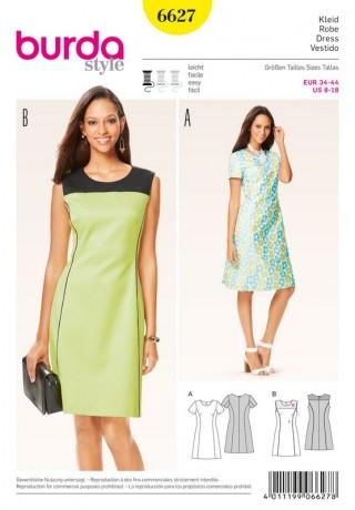 Kleid – leicht ausgestellt mit Teilungsnähten, Gr. 34 - 44, Schnittmuster Burda 6627