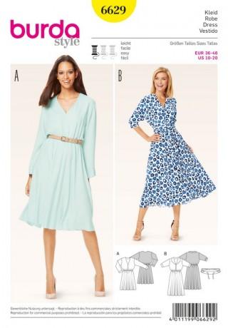 Kleid – glockiger Rock – Gummidurchzug in der Taille, Gr. 36 - 46, Schnittmuster Burda 6629