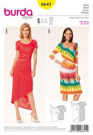 Jerseykleid – runder Ausschnitt – seitl. Fältchen, Gr. 36 - 46, Schnittmuster Burda 6641