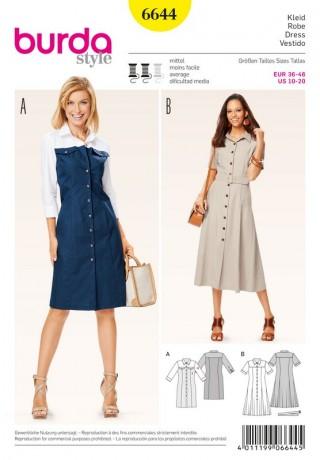 Kleid – geknöpft – Hemdblusenstil, Gr. 36 - 46, Schnittmuster Burda 6644