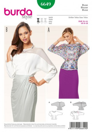 Shirtbluse – Kimono-Ärmel, Gr. 34 - 44, Schnittmuster Burda 6649