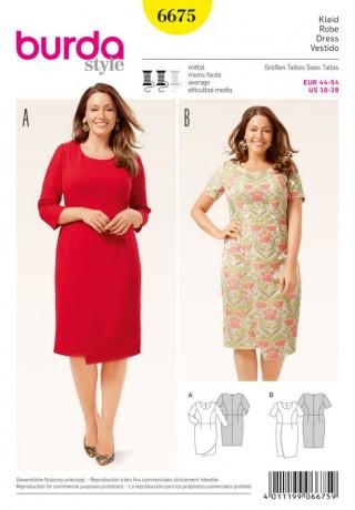 Kleid – Wickeleffekt, Gr. 44 - 54, Schnittmuster Burda 6675