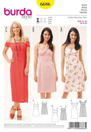 Kleid – Trägerkleid – Carmenkleid – Empirenaht, Gr. 34 - 46, Schnittmuster Burda 6686