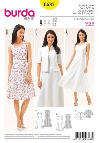 Kleid – Jacke – Teilungsnähte, Gr. 36 - 50, Schnittmuster Burda 6687