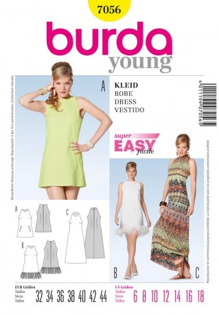 Kleid, Minus-Schulter, Gr. 32 - 44, Schnittmuster Burda 7056