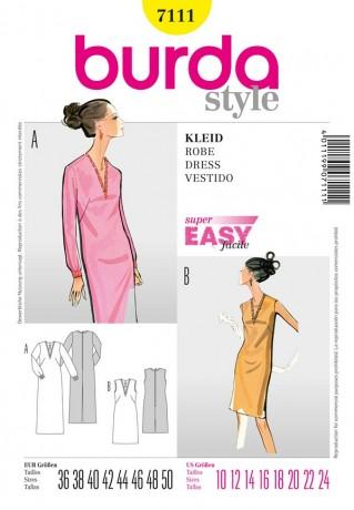 Kleid mit V-Ausschnitt, Gr. 36 - 50, Schnittmuster Burda 7111