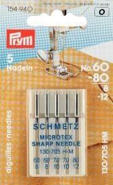 Prym Sortiment Spezial Nähmaschinennadeln mit Flachkolben Microtex No. 60-80