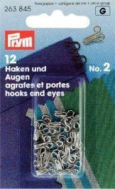 Prym 12 Stück Bekleidungsverschlüsse Haken und Augen, silberfarbig