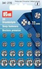 Prym 20 Stück Annähdruckknöpfe Messing 6-11mm silberfarbig