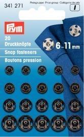 Prym 20 Stück Annähdruckknöpfe Messing 6-11mm schwarz
