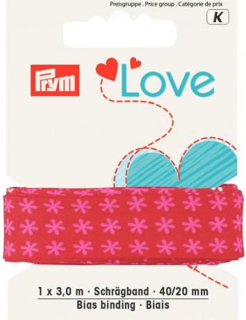 Prym Love 3m Schrägband Blüte 40/20mm rot