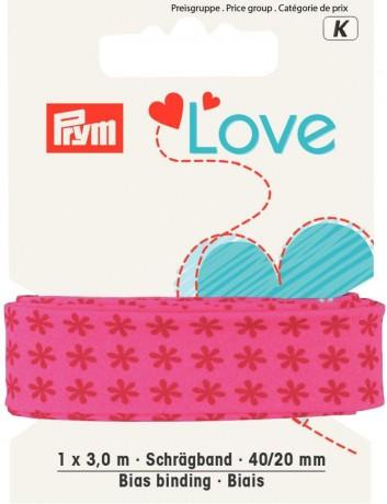 Prym Love 3m Schrägband Blüte 40/20mm pink