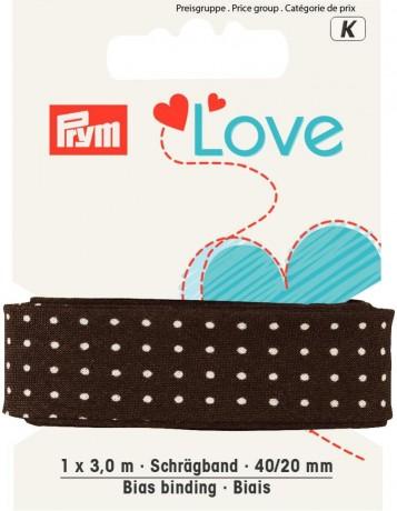Prym Love 3m Schrägband Punkte 40/20mm braun