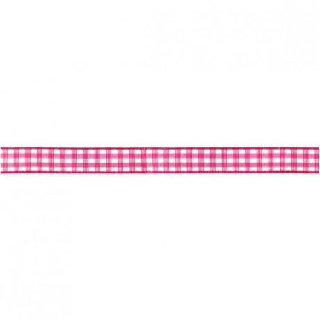 Prym Dekoband kariert 10mm x 4m (Breite / Länge) pink / weiss