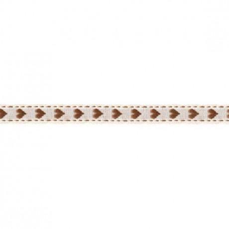 Prym Borte mit Herz 10mm x 2m (Breite / Länge) beige / braun
