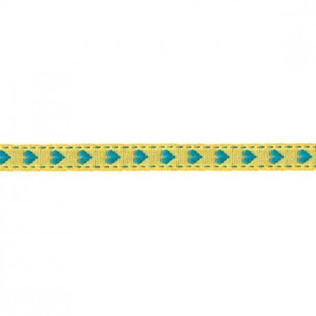 Prym Borte mit Herz 10mm x 2m (Breite / Länge) gelb / türkis