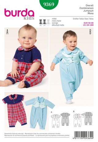 Baby-Overall - Bubikragen, Gr. 56 - 86, Schnittmuster Burda 9369