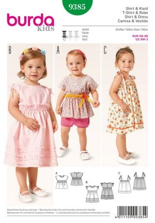Shirt – Kleid – Trägerkleid – Rüschen – Gummismok, Gr. 68 - 98, Schnittmuster Burda 9385