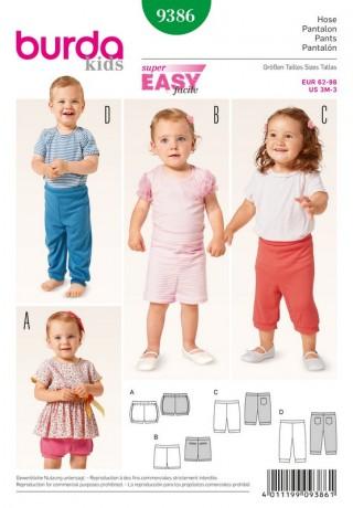Hose – Pumphose – Shorts – Gummizug, Gr. 62 - 98, Schnittmuster Burda 9386