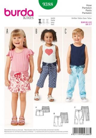 Hose – 3/4-Hose – Shorts, Gr. 92 - 122, Schnittmuster Burda 9388