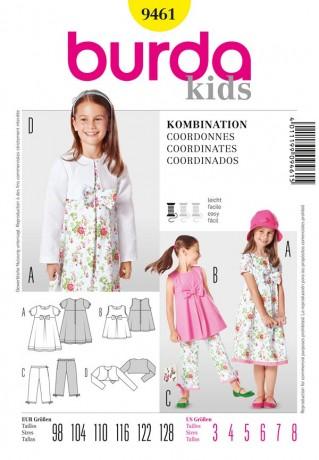 Kombination Mädchen; Kleid, Hose, Tunika und Bolero, Gr. 98 - 128, Schnittmuster Burda 9461