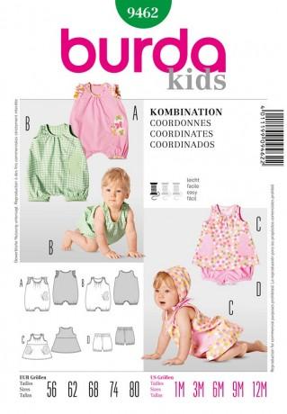 Kleid mit Höschen oder Overall, Gr. 56 - 80, Schnittmuster Burda 9462