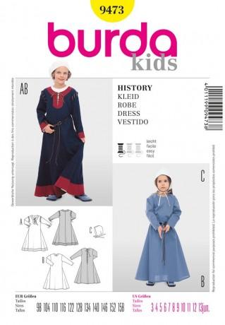 Historisches Kinderkostüm, Kleid mit Haube, Gr. 98 - 158, Burda Schnittmuster 9473