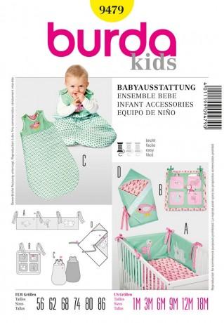 Babyausstattung: Nestchen, Utensilo, Schlafsack und Wickeltuch, Gr. 56-86, Schnittmuster Burda 9479
