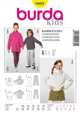 Kombi: Kapuzenshirts, Shirtkleid, Jogginghose, Leggings, Gr. 104 - 164, Schnittmuster Burda 9482
