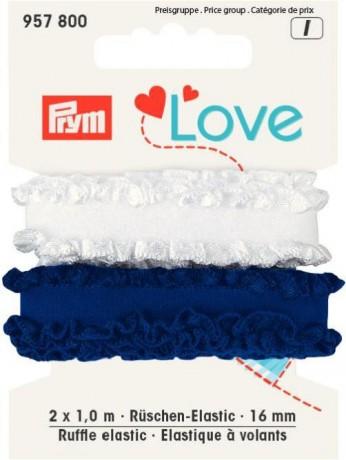 Prym Love 2 x 1m Rüschen-Elastic 16mm breit blau, weiss