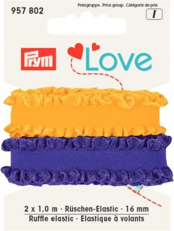 Prym Love 2 x 1m Rüschen-Elastic 16mm breit lila, gelb