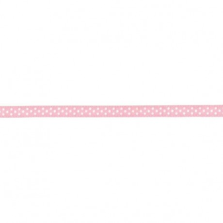 Prym Satinband gepunktet 6mm x 4m (Breite / Länge) rosa / weiss
