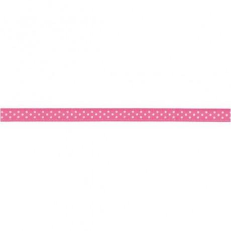 Prym Satinband gepunktet 6mm x 4m (Breite / Länge) pink / weiss