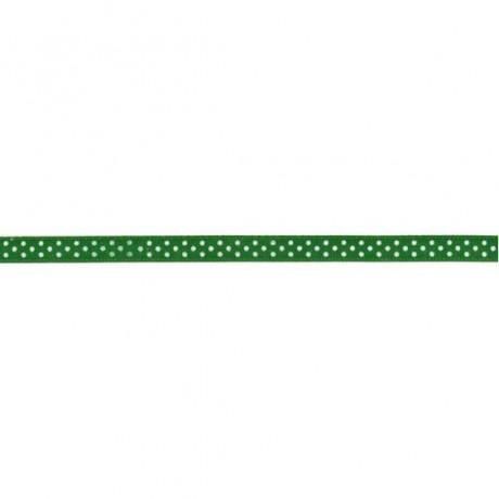 Prym Satinband gepunktet 6mm x 4m (Breite / Länge) grün / weiss