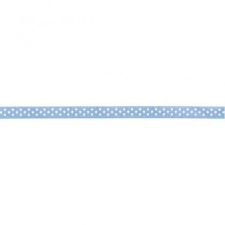 Prym Satinband gepunktet 6mm x 4m (Breite / Länge) hellblau / weiss