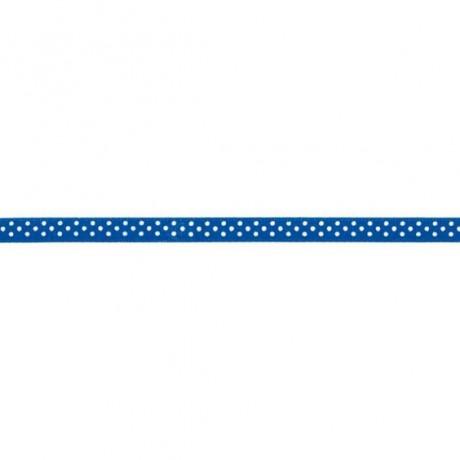 Prym Satinband gepunktet 6mm x 4m (Breite / Länge) royalblau / weiss