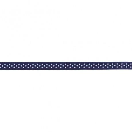 Prym Satinband gepunktet 6mm x 4m (Breite / Länge) marineblau / weiss