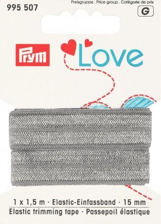 Prym Love 1,5m Elastic-Einfassband 15mm breit grau