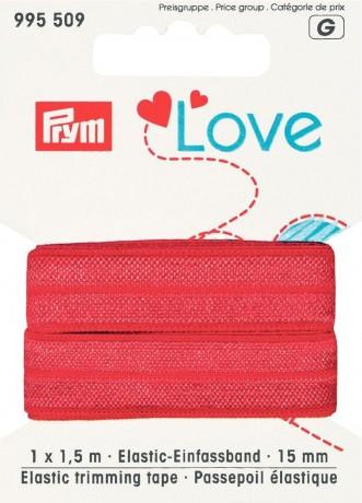 Prym Love 1,5m Elastic-Einfassband 15mm breit rot