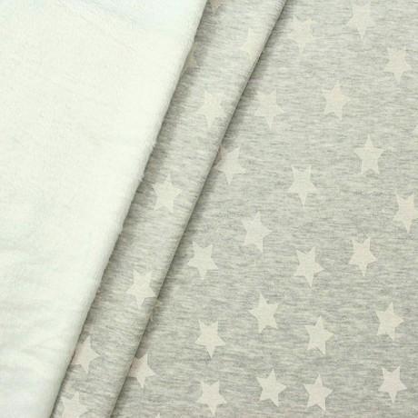 Alpenfleece Sweatshirt Sterne Groß Hell-Grau Weiss