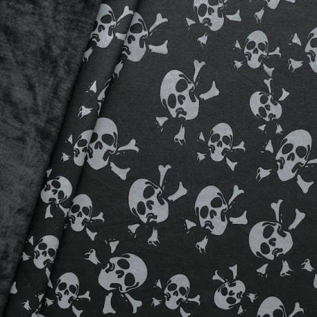 Alpenfleece Sweatshirtstoff Skulls Mix 2 Schwarz